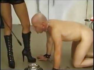 Femdom german female-dominant whipping session