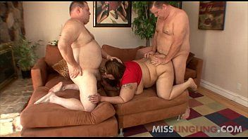 Dilettante oriental bbw floozy group-fucked by two plump boys