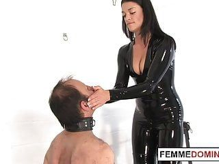 English bitch goddess whips shackled serf