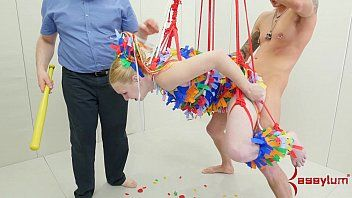 Anal pinata gal receives brutal torture
