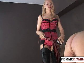 Mean female-dom whipping worthless villein booty